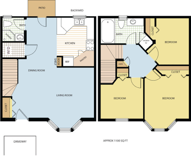 3 Bed 2 Bath Townhouse  floor plan
